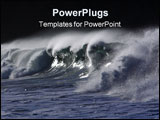 PowerPoint Template - A Big Wave breaks the foam and spray highlighted by the sun