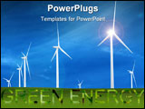 PowerPoint Template - Wind Turbines in a open field with bright blue sky