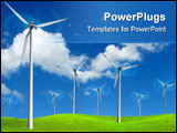 PowerPoint Template - A lot wind farm turbines in green field