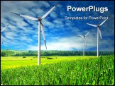 PowerPoint Template - Wind Mill landscape wind turbines blue sky
