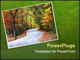 PowerPoint Template - Scenic winding road through colorful trees during autumn time