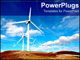 PowerPoint Template - Huge windmills out on plain.