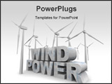 PowerPoint Template - The words Wind Power surrounded by windmill turbines