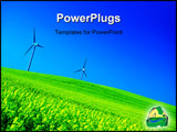PowerPoint Template - Wind turbines. Energy. Beautiful meadow. New technology concept.