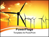 PowerPoint Template - Wind turbines in orange sunset/sundown (back lit).