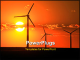 PowerPoint Template - Three wind turbines silhouetted by a setting sun
