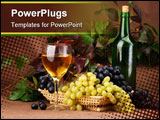 PowerPoint Template - Wine composition on the table. Image ready for your design work.