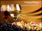PowerPoint Template - A pair of glass with wine and a bunch of white and black grapes.