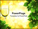 PowerPoint Template - white wine and grape leaves on bokeh background