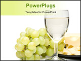 PowerPoint Template - Wine in a glass grapes and cheese