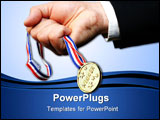 PowerPoint Template - businessman grabbing gold medal against blue sky
