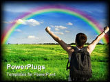 PowerPoint Template - Man winner traveler on the meadow with green grass and blue sky