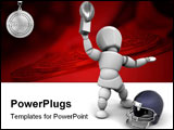 PowerPoint Template - American football player holding up the winners trophy