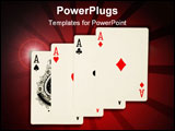 PowerPoint Template - poker hand for of one four aces on red felt