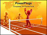 PowerPoint Template - Picture of a finish line with a red character winning the race.