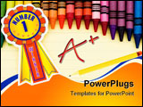 PowerPoint Template - Colorful crayons on a sheet of lined paper Successful Learning