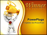 PowerPoint Template - 3D render of a person holding a first prize trophy