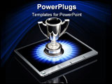 PowerPoint Template - d illustration of a large silver trophy sitting top of a silver tablet computer over a dark gray re