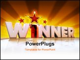 PowerPoint Template - Word winner in 3d with a number one instead of the letter i