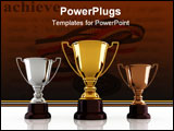 PowerPoint Template - Gold silver and bronze winners cup sitting on white background - 3d render