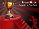 PowerPoint Template - abstract 3d illustration of stairway to winner trophy