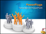 PowerPoint Template - Winning team celebrating on podium. 3d rendered image.