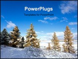 PowerPoint Template - Winter landscape in mountains in the sunny morning