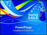 PowerPoint Template - winter sale in the store vector on a blue background