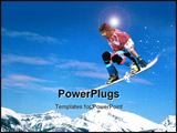PowerPoint Template - skier jumping down a mountain side