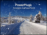 PowerPoint Template - Serbia Divcibare mountain road winter snow pine tree