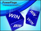 PowerPoint Template - Two blue semi-transparent dice with the word WIN on them over white background