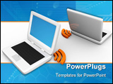 PowerPoint Template - Two laptop computer connected wireless to each other.