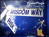 PowerPoint Template - street post with risk st and wisdom way signs