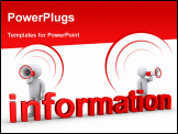 PowerPoint Template - Two 3d persons with megaphones are behind information word