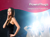 PowerPoint Template - famous woman is posing for photographers on background