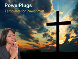 PowerPoint Template - Beautiful young woman in suit praying. Shot with the Canon