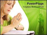 PowerPoint Template - shot of a woman praying over bible