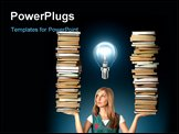 PowerPoint Template - woman with many books in her hands and bulb