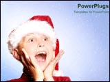 PowerPoint Template - Little boy is amazed at the wonder of Christmas.