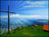 PowerPoint Template - A wooden cross in the Swiss Alps