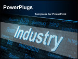 PowerPoint Template - Pixeled word Industry on digital screen 3d render