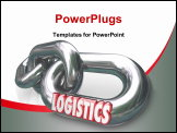 PowerPoint Template - The word Logistics on a metal chain link connected to other chains and links to form an organized and coordinated system of working together