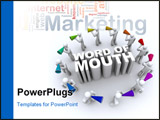 PowerPoint Template - A ring of people carrying bullhorns around the phrase Word of Mouth