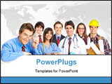 PowerPoint Template - Business people builder nurse. Isolated over white background