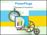 PowerPoint Template - Chronograph monitor and gear composition symbolizing work flow. Digital illustration.