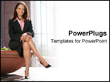 PowerPoint Template - An African American business woman sits confidently.