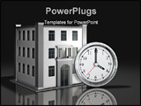 PowerPoint Template - d illustration of a simple white-face clock sitting upright in front of a simple three-story office