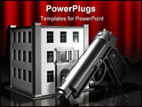 PowerPoint Template - d illustration of a metallic gun standing in front of a simple three story office building on a dar