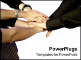 PowerPoint Template - Team members put their hands together to make a group effort.