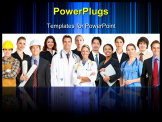 PowerPoint Template - Large group of smiling workers people. Over white background